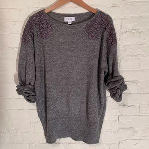 Women's Grey/Silver ELLE Sweater XL